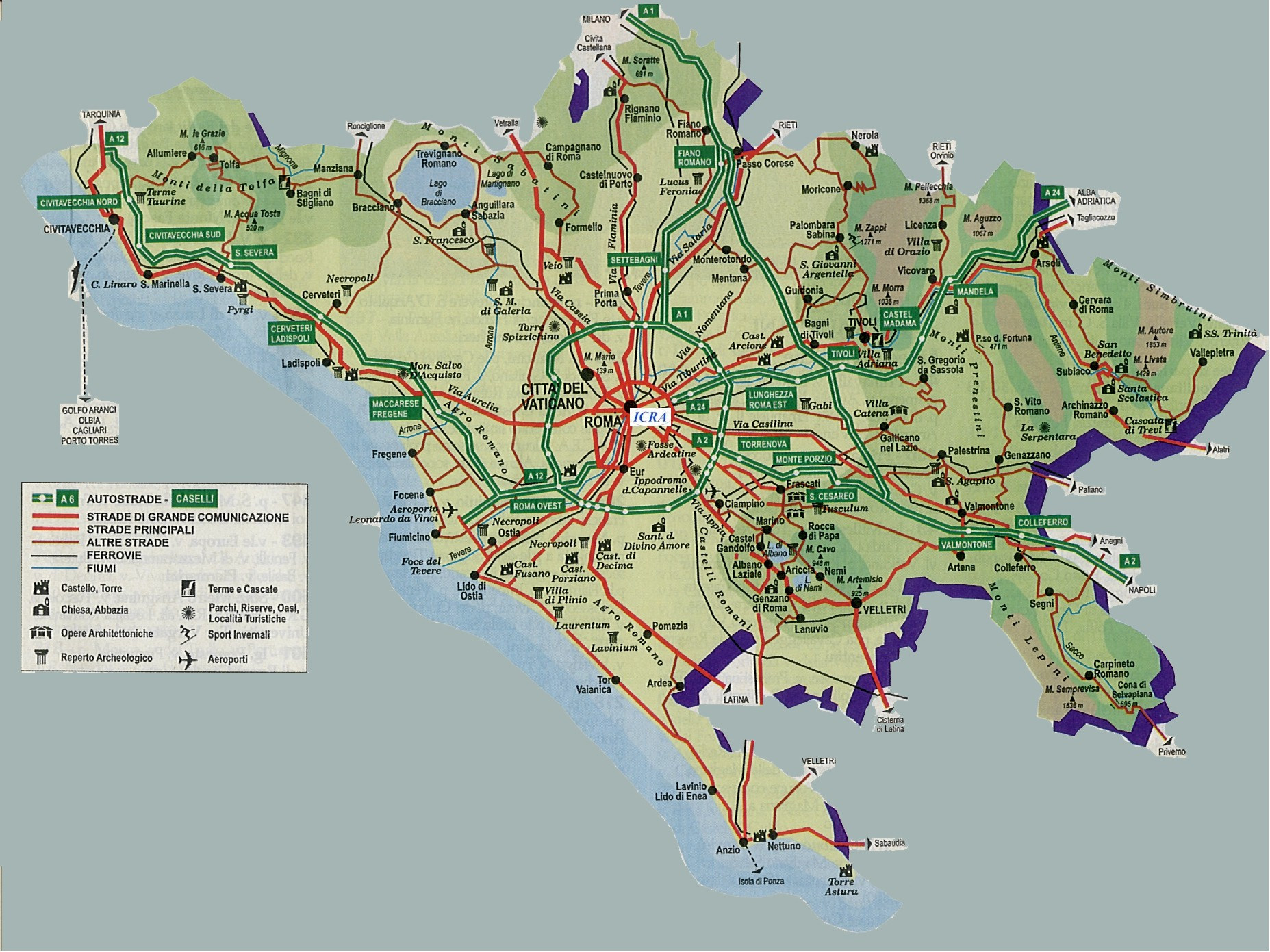 Information Get To Rome - Rome map with airports