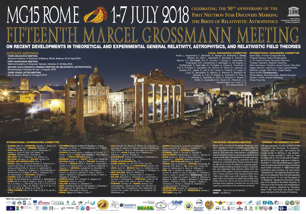 15th Marcel Grossmann Meeting :: Rome, July 1-7, 2018
